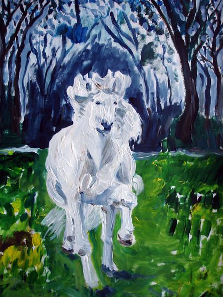 Wiese, Schimmel, Pony, Landschaft, Wald, Acrylmalerei