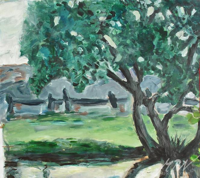 Teich, Acrylmalerei, Natur, Baum, Wiese, Landschaft