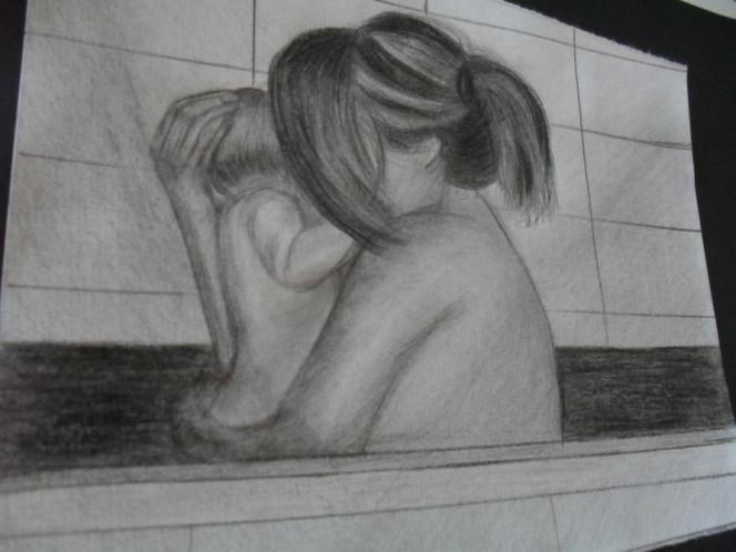 Vertrauen, Grafit, Bleistiftzeichnung, Liebe, Mutter und kind, Malerei