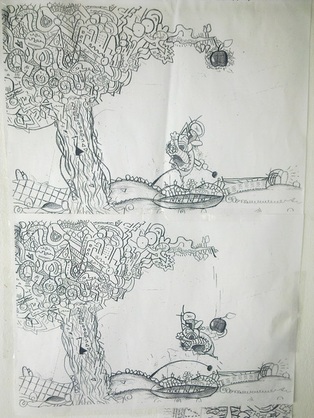Herbst, Apfel, Zeichnung, Graffiti, Abstrakt, Bleistiftzeichnung