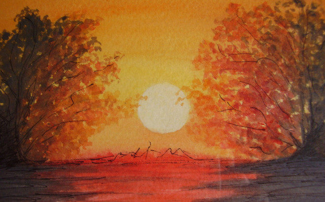 Himmel, Natur, Sonne, Sonnenuntergang, Baum, Aquarellmalerei
