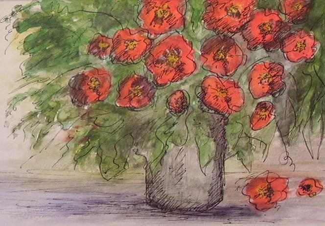 Rot, Strauß in der vase, Mohnblumen, Aquarellmalerei, Blumen, Aquarell