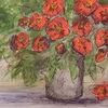 Blumen, Rot, Strauß in der vase, Mohnblumen