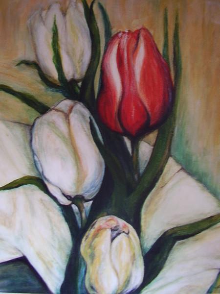 Blumen, Acryl auf leinwand, Tulpen, Malerei