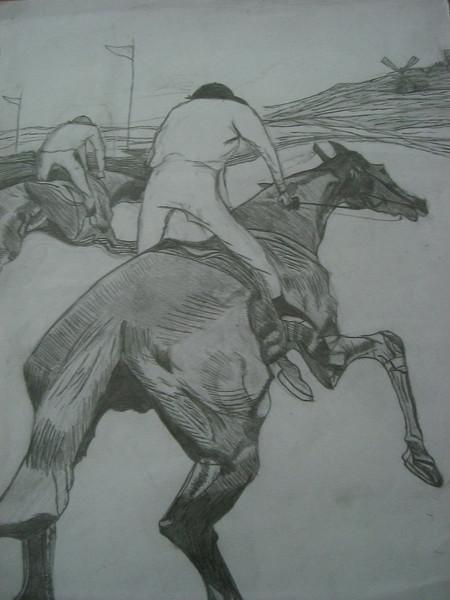 Pferde, Zeichnung, Zeichnungen, Tiere, Reiter