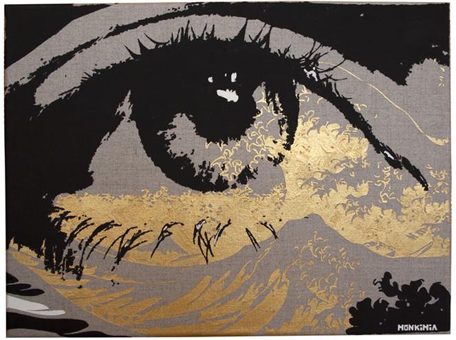 Gold, Schwarz, Augen, Malerei, Gemälde, Portrait