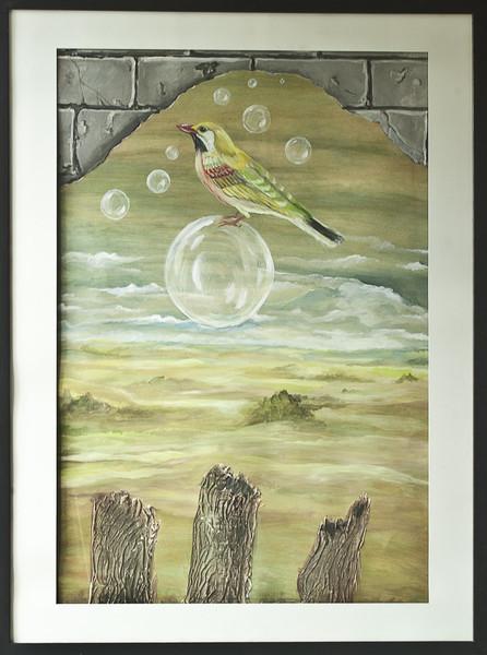 Vogel, Surreal, Landschaft, Malerei, Illusion