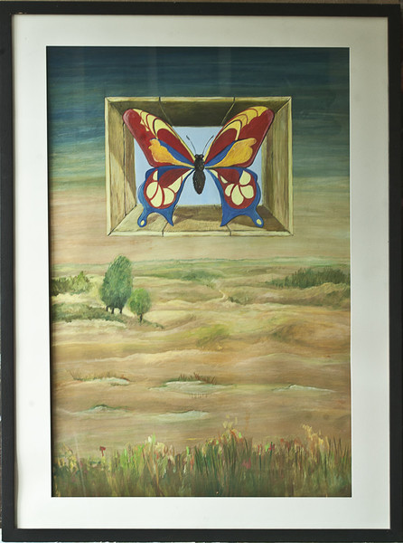 Schmetterling, Malerei, Landschaft, Surreal, Illusion
