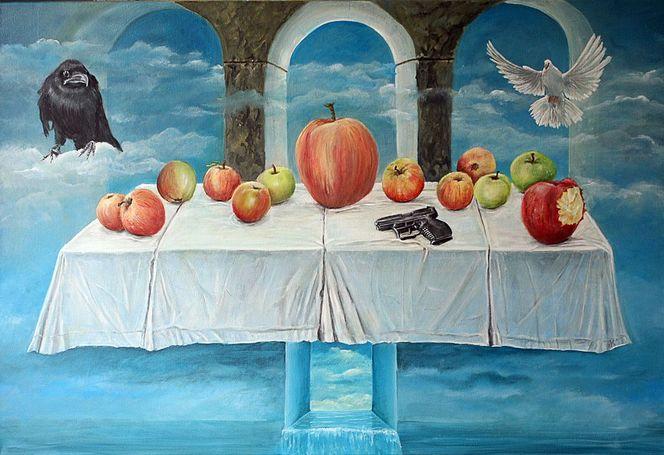 Rtaube, Himmel, Meer, Tischtuch, Apfel, Surialismus