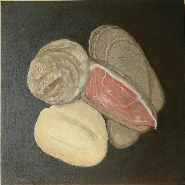 Stillleben, Brot, Schinken, Ölmalerei, Brötchen, Malerei