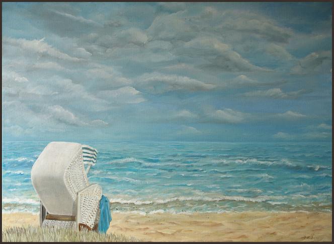 Strand, Meer, Ostsee, Küste, Strandkorb, Malerei