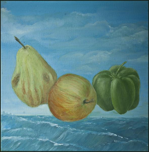 Birne, Stillleben, Paprika, Ölmalerei, Nahrungsmittel, Malerei