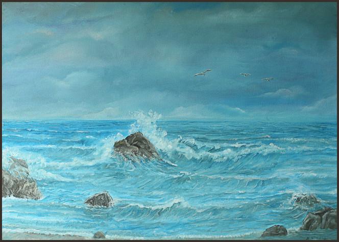 Meer, Brandung, Ostsee, Malerei