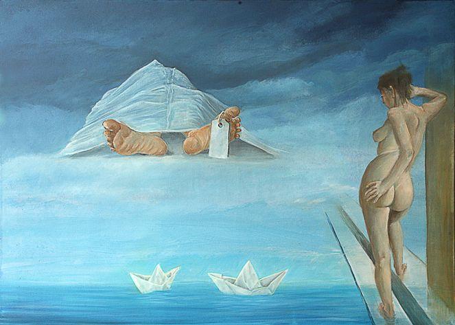 Leichnam, Leichentuch, Meer, Papierboote, Malerei, Surreal