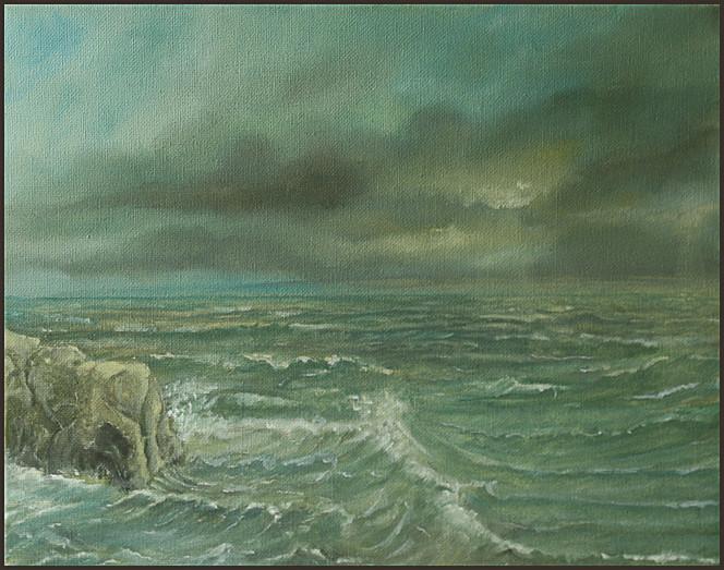 Malerei, Ostsee, Meer, Brandung, Landschaft