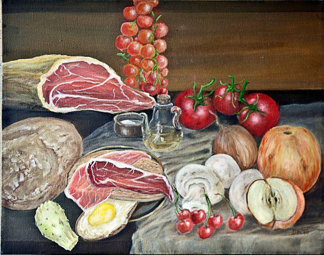 Feige, Kirsche, Schinken, Zwiebeln, Tomate, Brot
