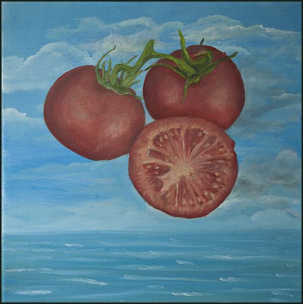 Nahrungsmittel, Meer, Stillleben, Tomate, Malerei