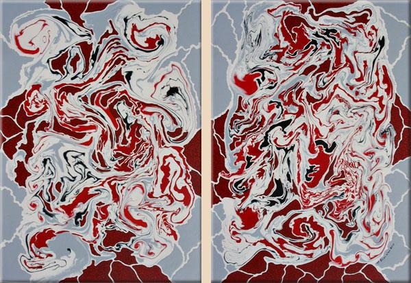 Modern, Abstrakte malerei, Originell, Rot schwarz, Gemälde, Acrylmalerei