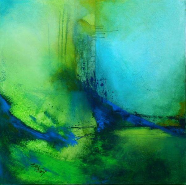 Grün, Landschaft, Wasser, Abstrakt, Stille, Blau