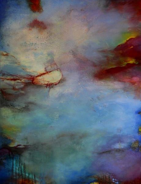 Blau, Fantasie, Landschaft, Malerei, Abstrakt