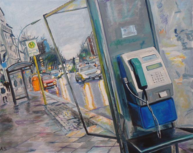 Zwielicht, Straßenszene, Auto, Regen, Malerei