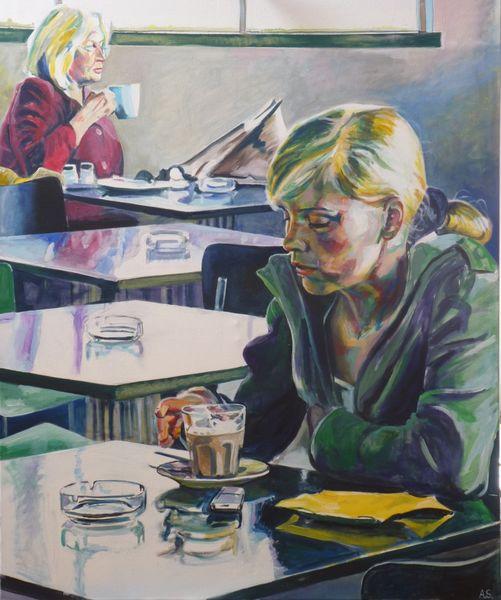 Cafeteria, Frau, Figurativer realismus, Malerei