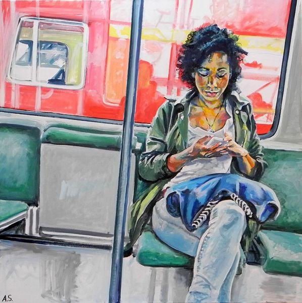 Junge frau, Stadtbahn, S bahn, Malerei, Menschen