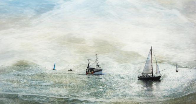 Natur, Wasser, Stimmung, Segelboot, Wind, Digitale kunst