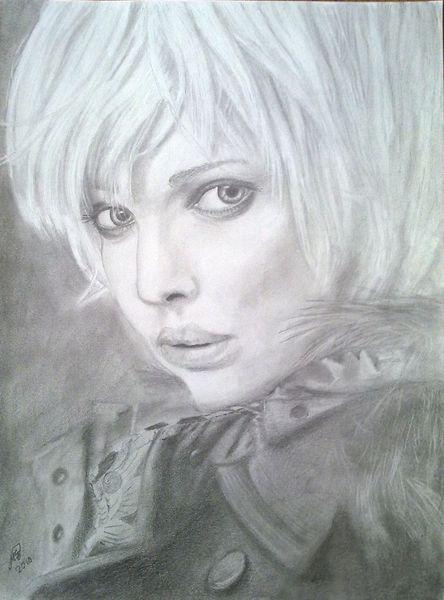 Frau, Portrait, Bleistiftzeichnung, Zeichnungen,
