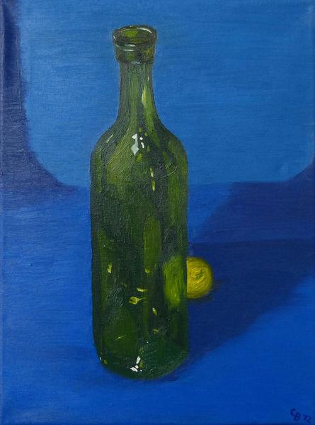 Grün, Gelb, Flasche, Stillleben, Blau, Studie