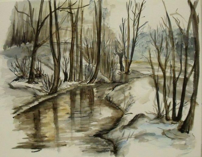 winter vor meiner haust r geheimnisvoll landschaft friedlich kalt von marlino bei kunstnet. Black Bedroom Furniture Sets. Home Design Ideas