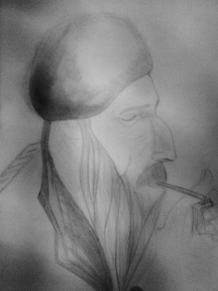 Zigarette, Alt, Mann, Zeichnungen, Menschen