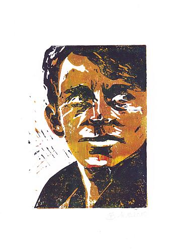 Portrait, Druck, Mann, Linoldruck, Linol, Druckgrafik