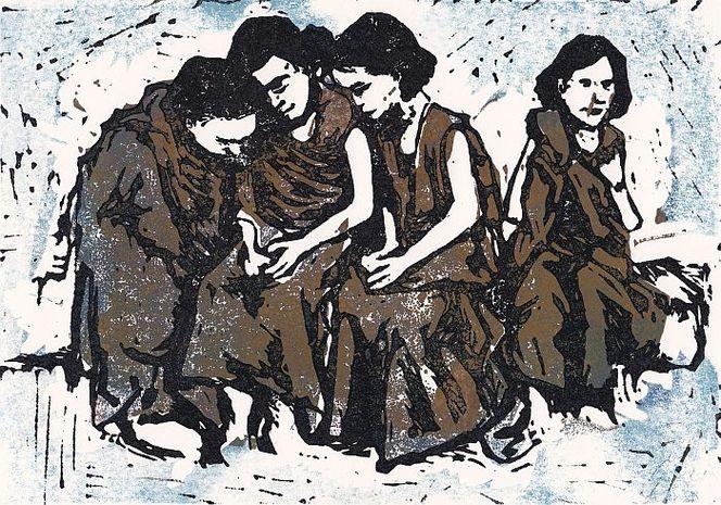 Mädchen, Gruppe, Mehrfarbdruck, Linolschnitt, Linol, Druckgrafik
