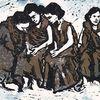 Mädchen, Gruppe, Linoldruck, Mehrfarbdruck