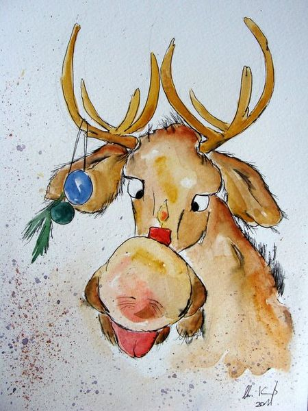 Advent, Elch, Tierkarikatur, Illustration, Tierkarikaturen, Tier karikatur