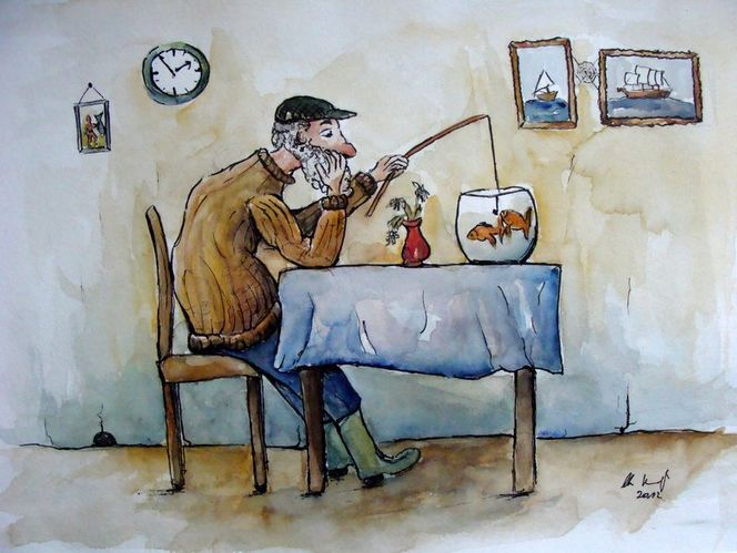 Tierkarikaturen, Karikatur, Malerei, Meer, Mann