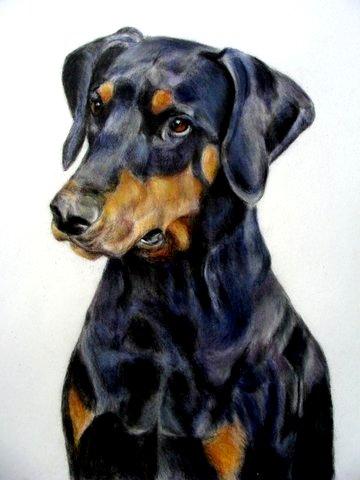 Hundeportrait, Malerei
