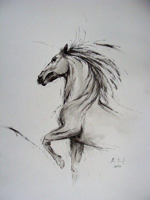 pferd4 pferde pferdemalerei malerei tiere von christine krau bei kunstnet. Black Bedroom Furniture Sets. Home Design Ideas