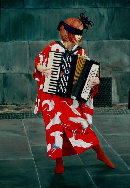 Musik, Realismus, Ölmalerei, Gemälde, Akkordeon, Rot