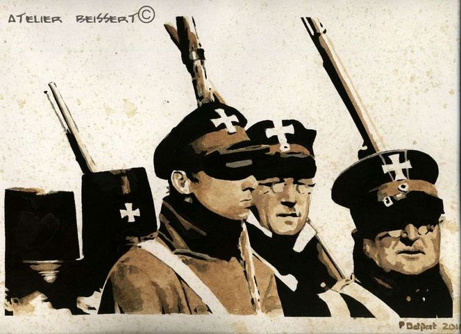 Guerres, Lützower, Reenactment, Waterloo, Bellen, Zeichnung