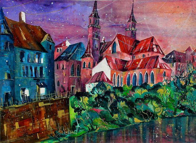 Basel, Stadt, Aquarellmalerei, Rhein, Blick, Ufer