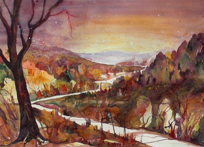 Landschaftsmalerei, Strauch, Aquarellmalerei, Wärme, Baum, Herbstlandschaft