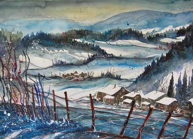 Schneelandschaft, Stille, Aquarell winter, Winterlandschaft, Baum, Winteraquarell