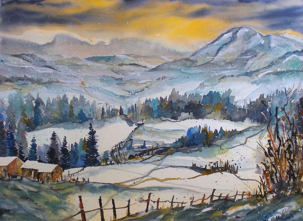 bild aquarell winter schneelandschaft winterlandschaft