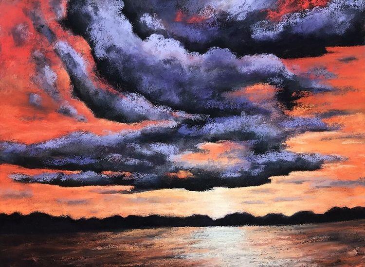 Sonnenuntergang, Landschaft, Sonnenuntergenag, Himmel, Stimmung, Pastellmalerei