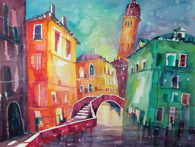 Aquarellmalerei, Venedig, Aquarell, Callas