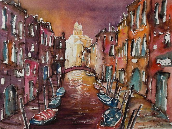 Wärme, Stadtaquarell, Aquarellmalerei, Venedig, Sonnenuntergang, Malerei