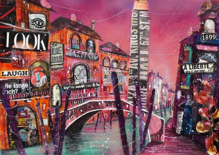 Rio, Brücke, Collage, San lorenzo, Mixed media, Venedig