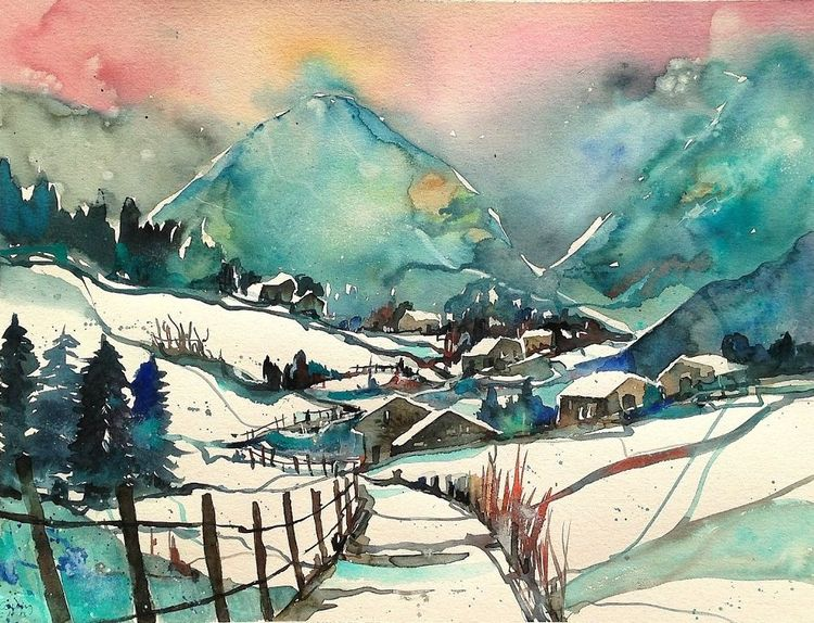 Tanne, Aquarellmalerei, Schneelandschaft, Weg, Winter, Berge
